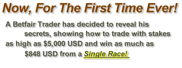 Now, for the first time ever!  A pro Betfair trader has decided to reveal his secrets, showing how to trade with stakes as high as $5,000 USD and win as much as $848 USD from a single race!